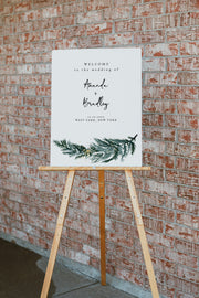 BEATA | Winter Pine Printable Wedding Welcome Sign Template