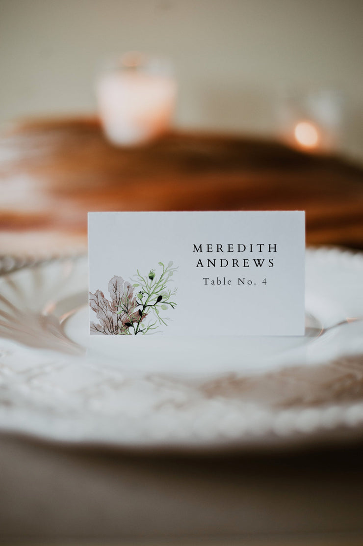ALANA | Modern Beach Wedding Place Cards Template