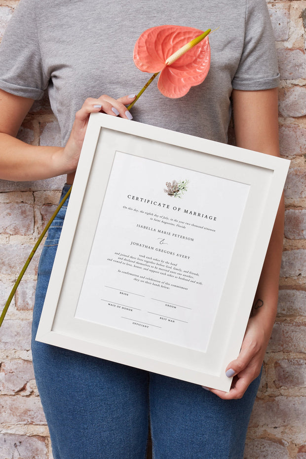 ALANA | Modern Beach Wedding  Marriage Certificate Template