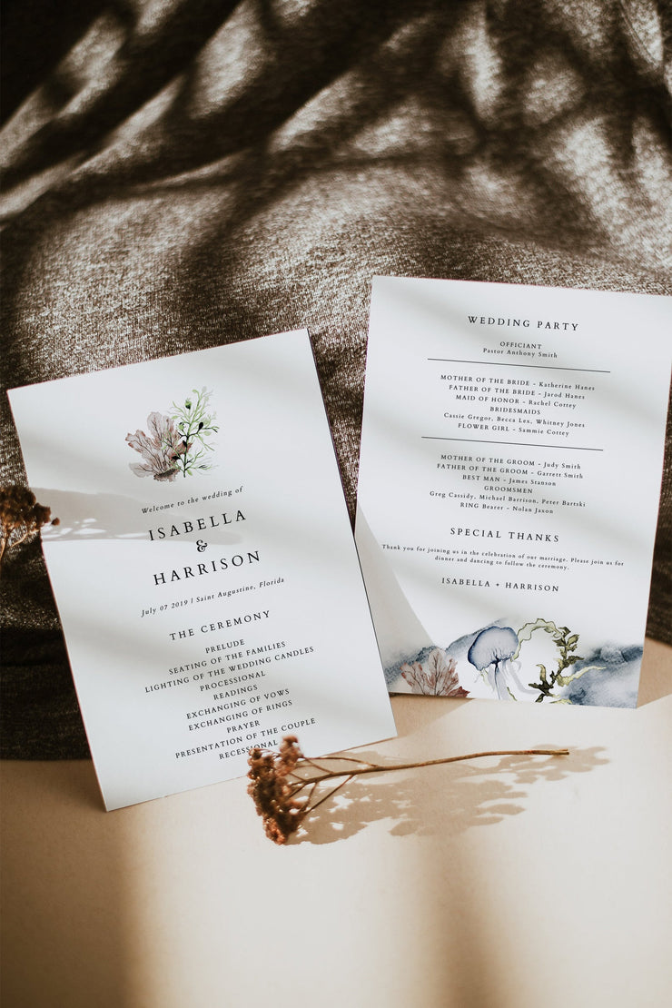 ALANA | Modern Tropical Beach Wedding Program Template