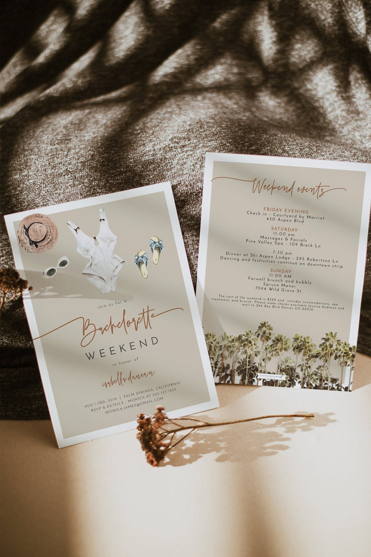 JADE | Boho Swimsuit Beach Bachelorette Invitation & Itinerary Template