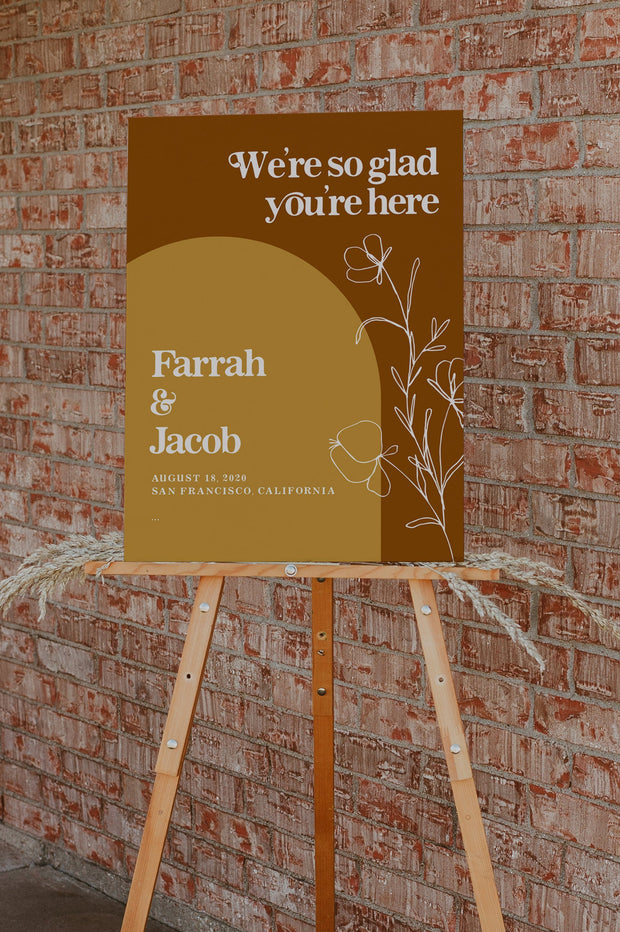 FARRAH | Burnt Orange Bohemian 70's Earth Child Wedding Invitation Template Bundle