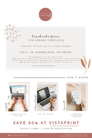 ISABELLA | Minimal Greenery Printable Wedding Welcome Letter & Timeline Template