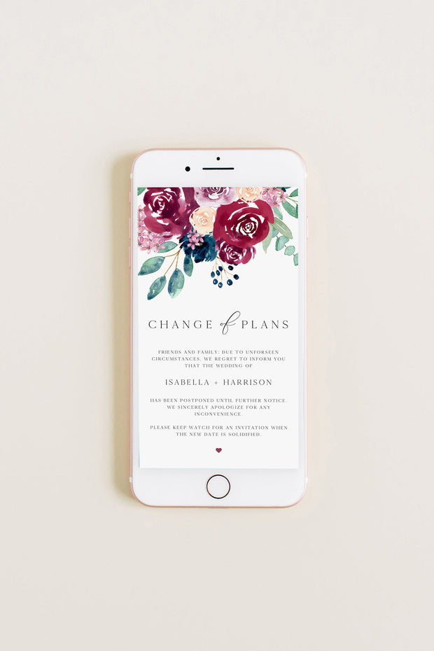 Bella - Marsala Floral Wedding Change of Plans Text Announcement Template