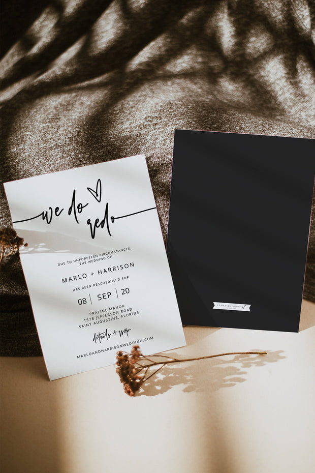 Marlo - Bold Contemporary Wedding Reschedule Announcement Template