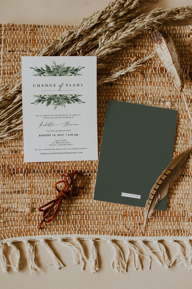 LANA | Greenery Wedding Reschedule Announcement Template