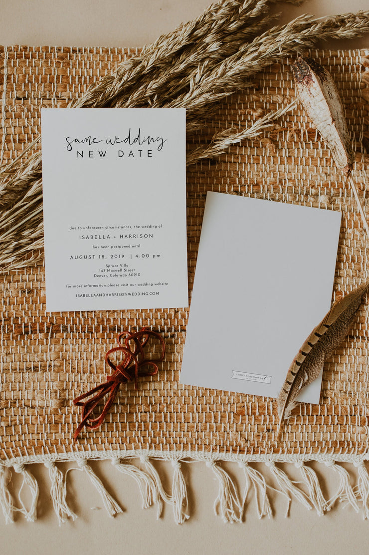 ADELLA |  Modern Minimalist Wedding Reschedule Announcement Template