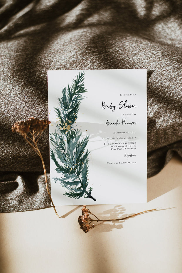 BEATA | Winter Pine Printable Baby Shower Invitation Template