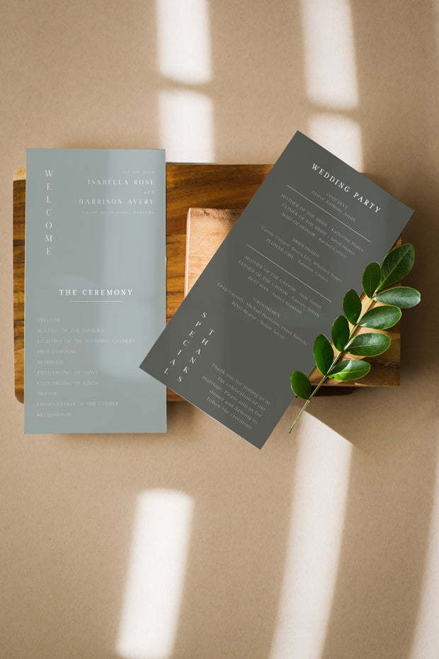 NINA | Minimalist Sage Green Bohemian Wedding Invitation Template Bundle