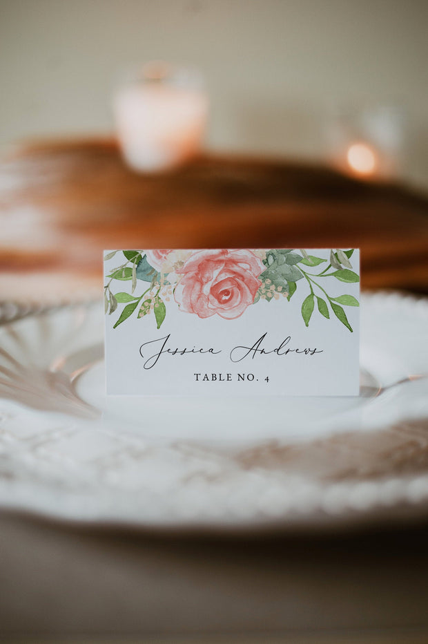 FINLEY | Rustic Peach Floral & Succulent Wedding Place Cards Template