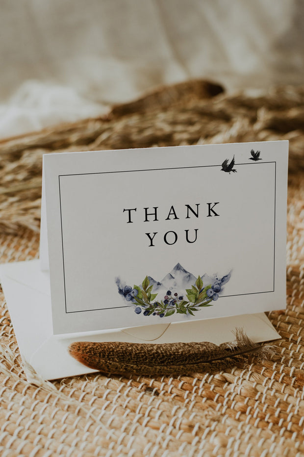 SIERRA | Boho Mountain Printable Wedding Thank You Card Template