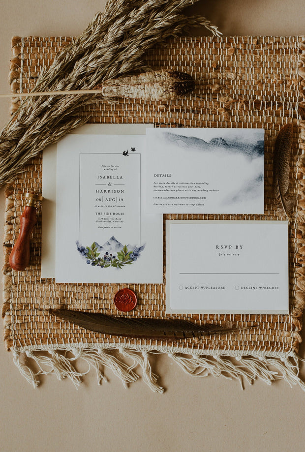 SIERRA | Boho Mountain Printable Wedding Invitation Template Suite