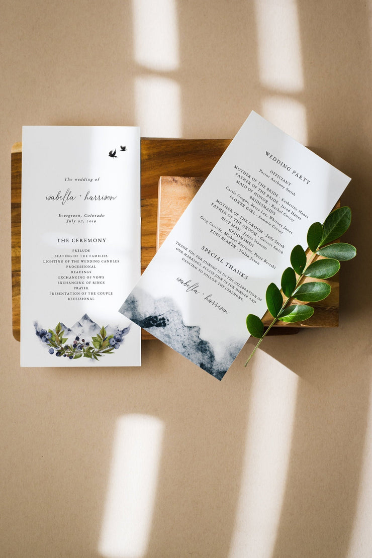 SIERRA | Modern Bohemian Mountain Printable Wedding Invitation Template Bundle