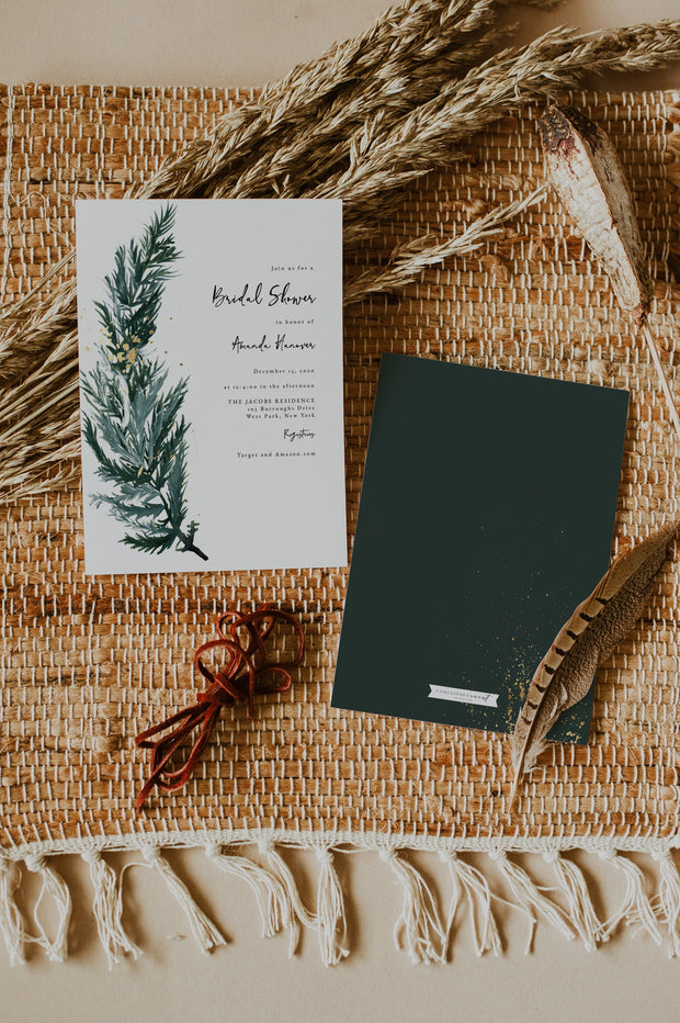 BEATA | Winter Pine Printable Bridal Shower Invitation Template
