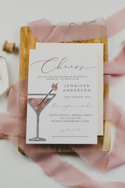 GENNA | Rose Gold Martini Bachelorette Invitation & Itinerary Template