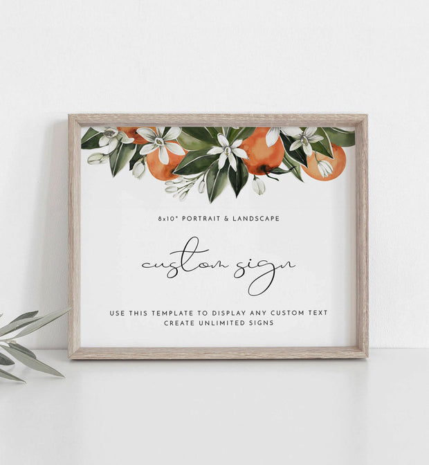 "CALLIOPE | Watercolor Orange Blossom Printable Custom 8x10"" Sign Template"