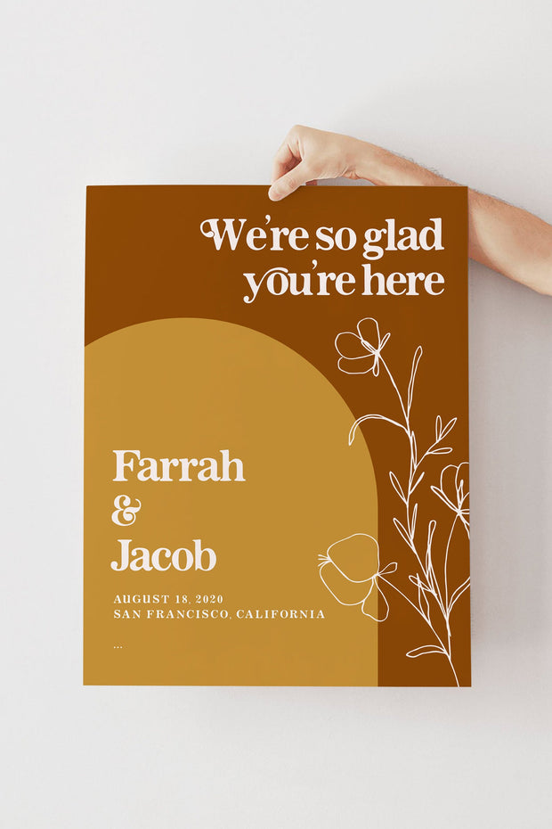 FARRAH | Burnt Orange Bohemian 70's Earth Child Wedding Welcome Sign Template