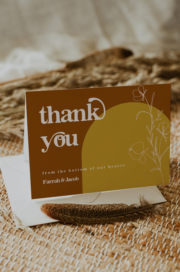 FARRAH | Burnt Orange Bohemian 70's Earth Child Printable Thank You Card Template
