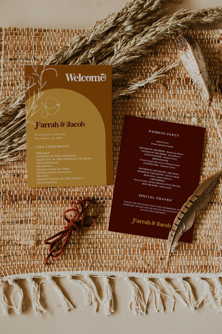 FARRAH | Burnt Orange Bohemian 70's Earth Child Printable Wedding Program Template