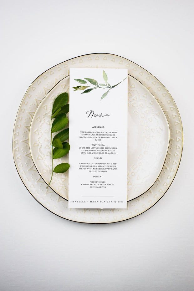 ISABELLA | Minimal Greenery Printable Wedding Menu Template