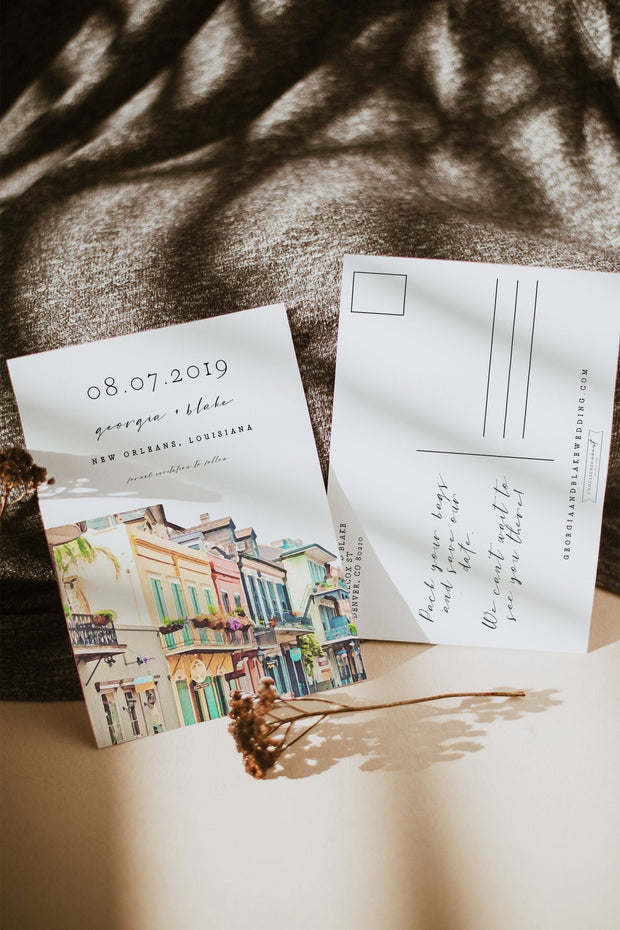 NOLA | Watercolor New Orleans French Quarter Save the Date Template
