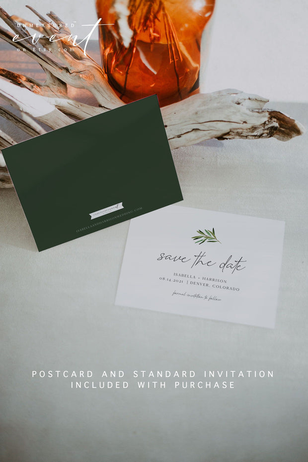 JUNIPER | Rosemary Greenery and Gold Printable Save the Date Template