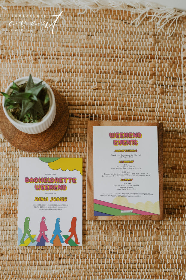 LENNON | Groovy 60's Iconic Themed Bachelorette Invitation & Itinerary Template