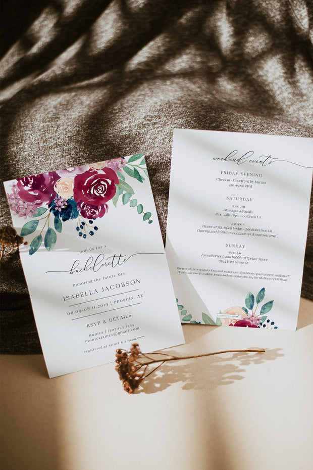 BELLA | Marsala Floral Bachelorette Invitation & Itinerary Template