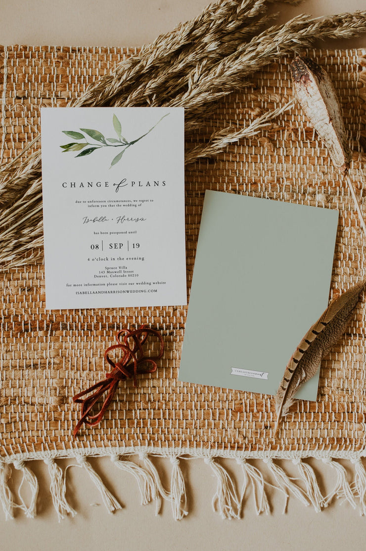 ISABELLA | Minimal Greenery Wedding Reschedule Announcement Template