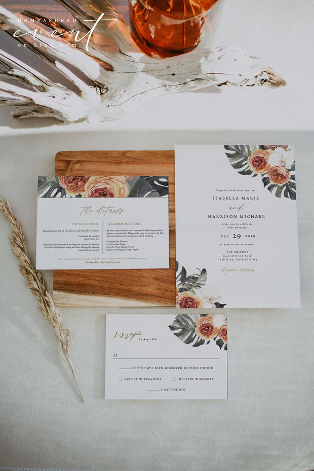 KINSLEY | Terracotta Tropical Bohemian Wedding Invitation Template Suite