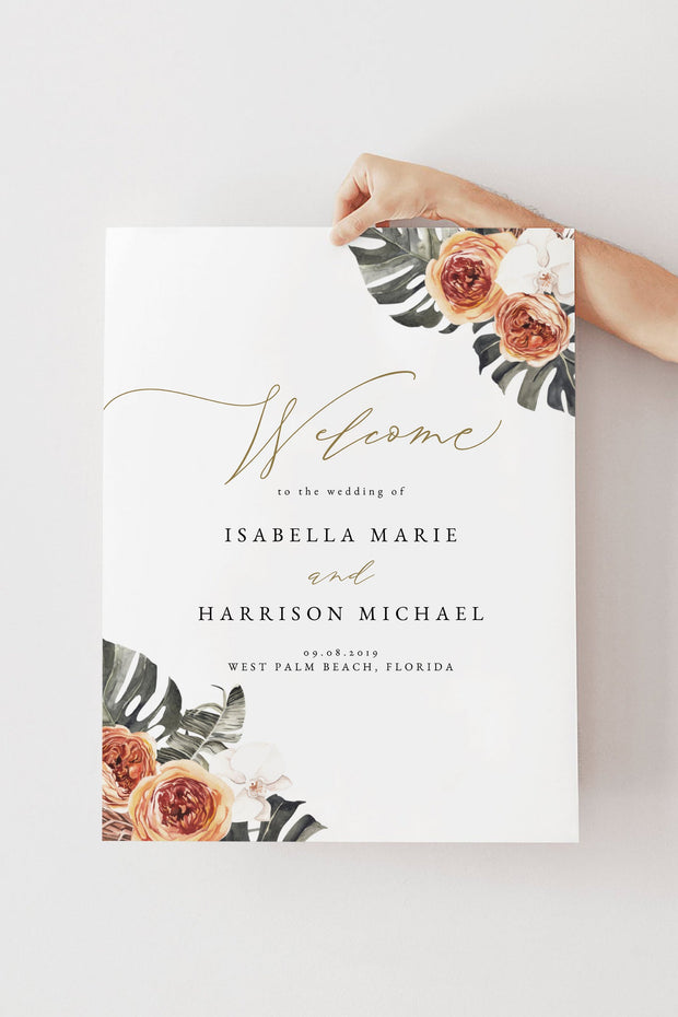 KINSLEY | Terracotta Tropical Bohemian Wedding Welcome Sign Template