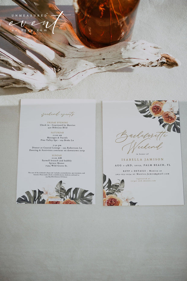 KINSLEY | Terracotta Tropical Bohemian Bachelorette Invitation & Itinerary Template