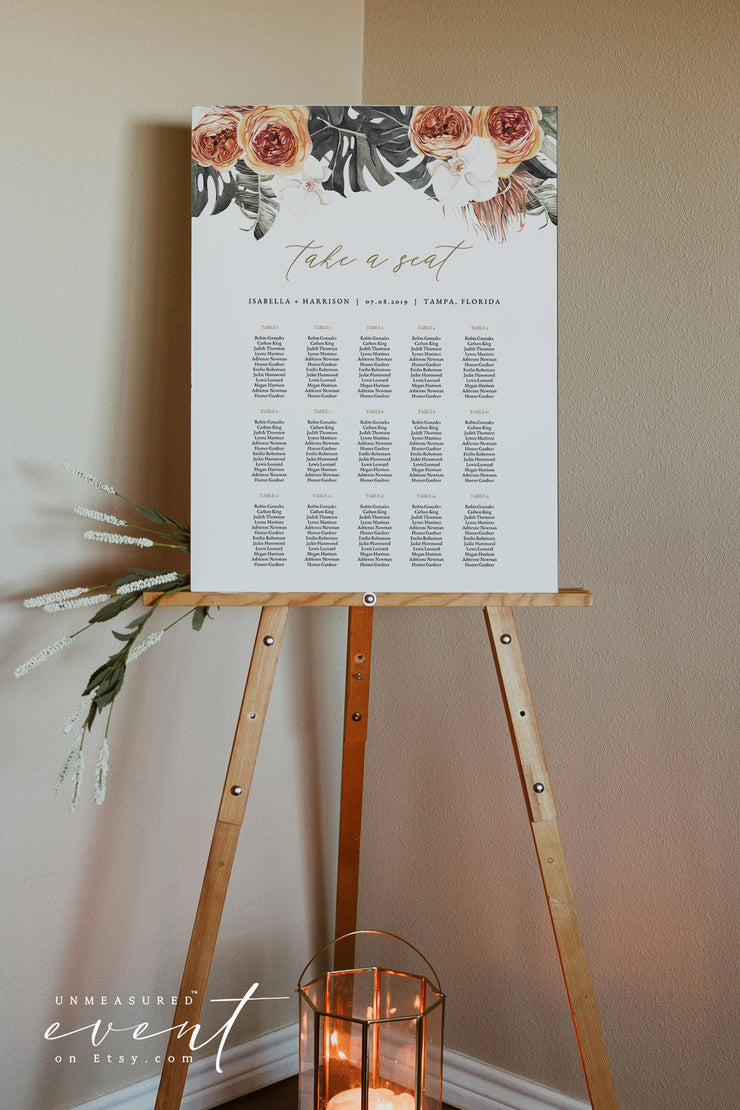 KINSLEY | Terracotta Tropical Bohemian Printable Seating Chart Template