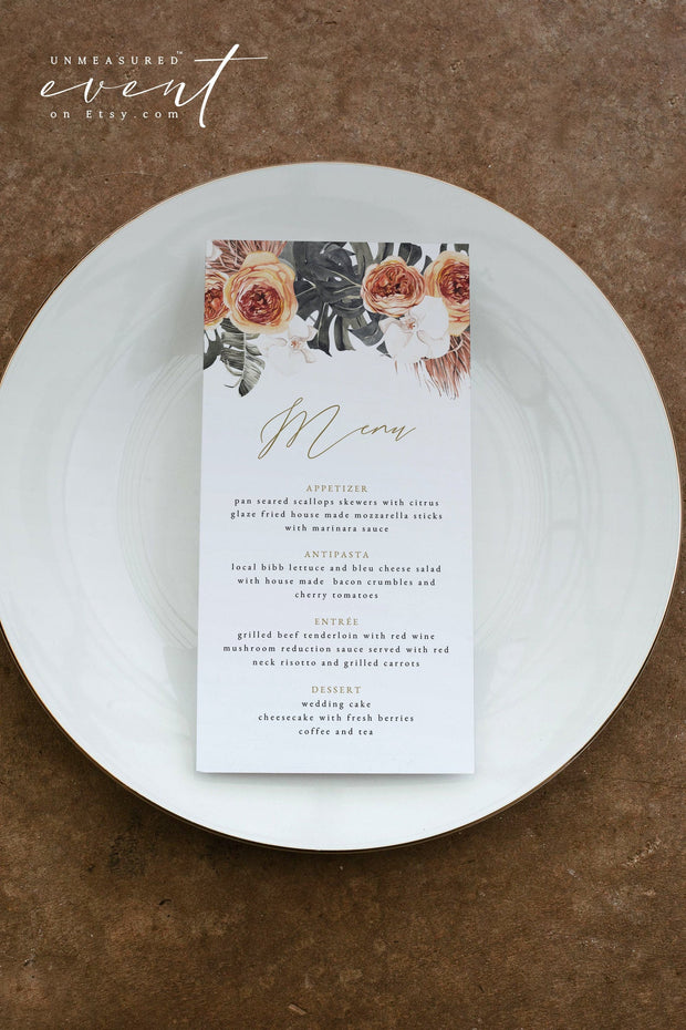 KINSLEY | Terracotta Tropical Bohemian Printable Menu Template