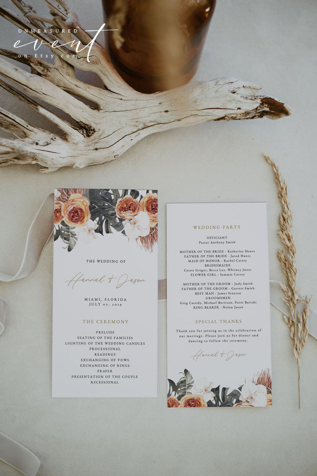 KINSLEY | Terracotta Tropical Bohemian Wedding Program Template
