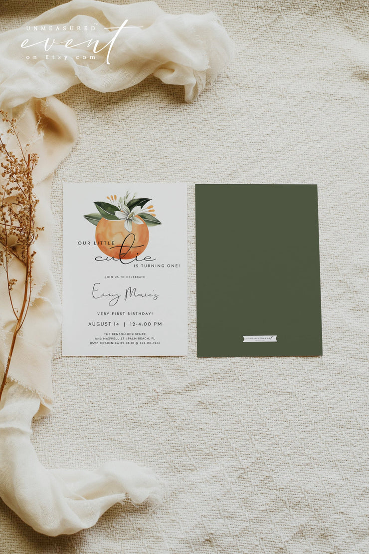 CALLIOPE | Watercolor Citrus Orange Blossom First Birthday Invitation Template