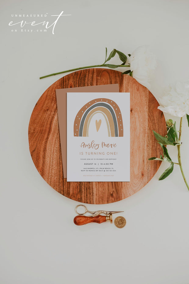 ANSLEY | Bohemian Terracotta Rainbow First Birthday Invitation Template