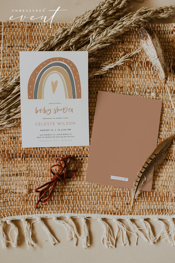ANSLEY | Bohemian Terracotta Rainbow Printable Baby Shower Invitation Template