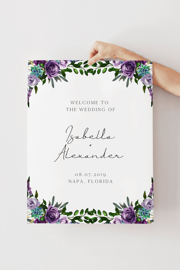 OLIVIA | Purple Floral and Succulent Wedding Welcome Sign Template