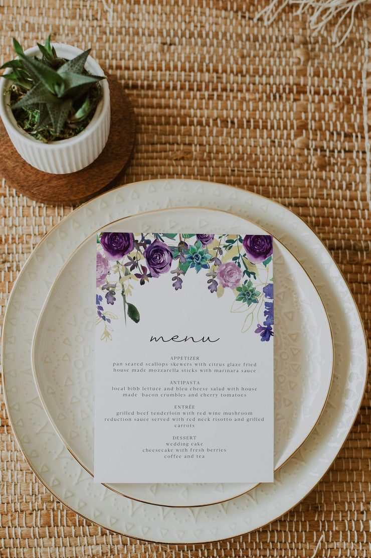 OLIVIA | Purple Floral and Succulent Printable Wedding Menu Template