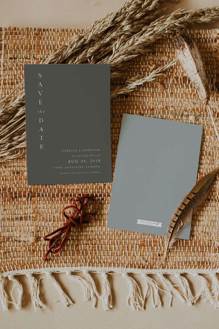 NINA | Minimalist Sage Green Bohemia Printable Save the Date Template