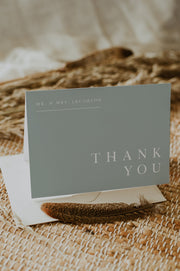 NINA | Minimalist Sage Green Bohemian Printable Thank You Card Template