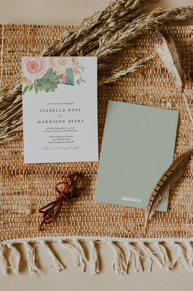 FINLEY | Rustic Peach Floral & Succulent Wedding Invitation Template Suite