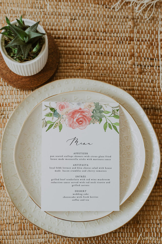 FINLEY | Rustic Peach Floral & Succulent Wedding Menu Template