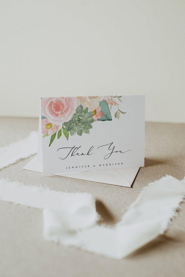 FINLEY | Rustic Peach Floral & Succulent Wedding Thank You Template