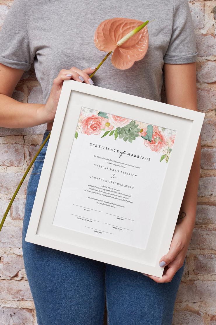 FINLEY | Rustic Peach Floral & Succulent Wedding Marriage Certificate Template