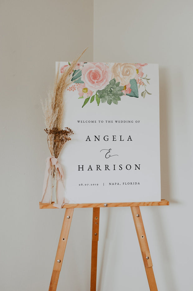 FINLEY | Rustic Peach Floral & Succulent Wedding Welcome Sign Template