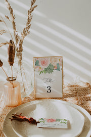 FINLEY | Rustic Peach Floral & Succulent Wedding Table Numbers Template