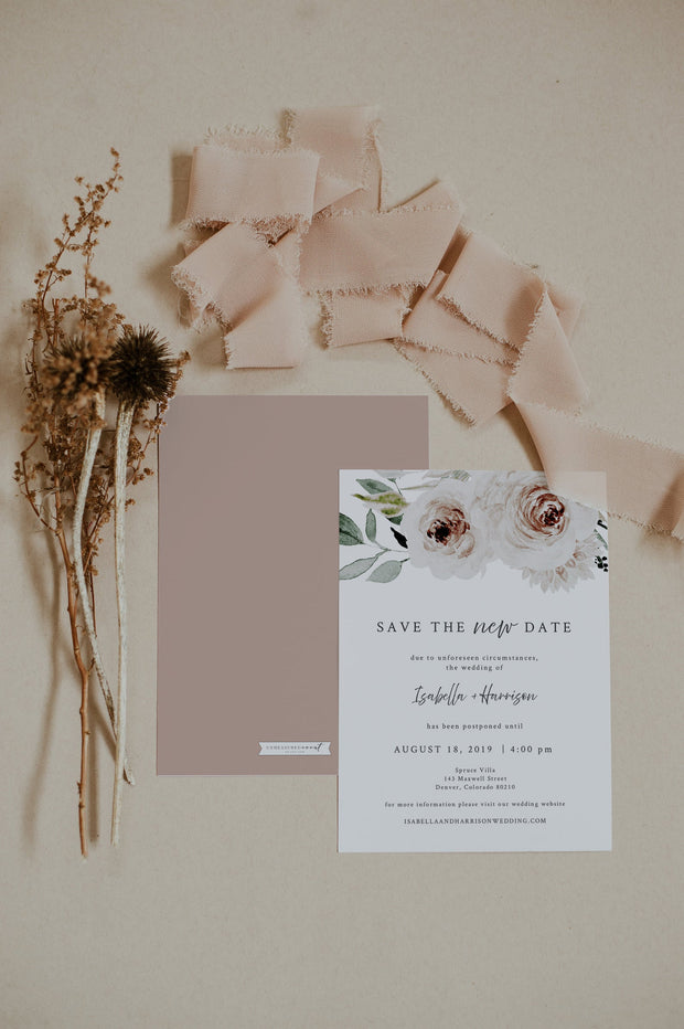 ROBYN | Blush Floral Wedding Reschedule Announcement Template
