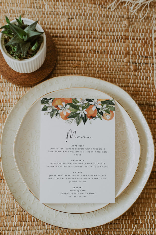 CALLIOPE | Watercolor Orange Blossom Printable Wedding Menu Template